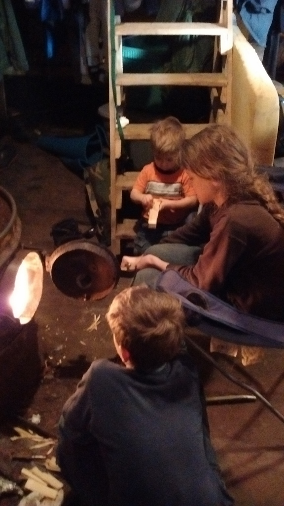 Kids tended the fire, keeping us cozy!