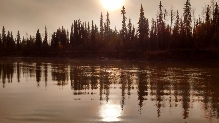 Peaceful water at the cabin, just before boarding the boat for the final moose hunt of the season