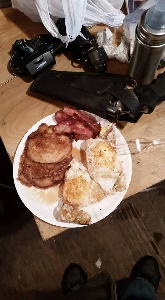 Hunters' breakfast: bacon, duck eggs fried in bacon grease, whole wheat pancakes with plenty of butter and pure maple syrup