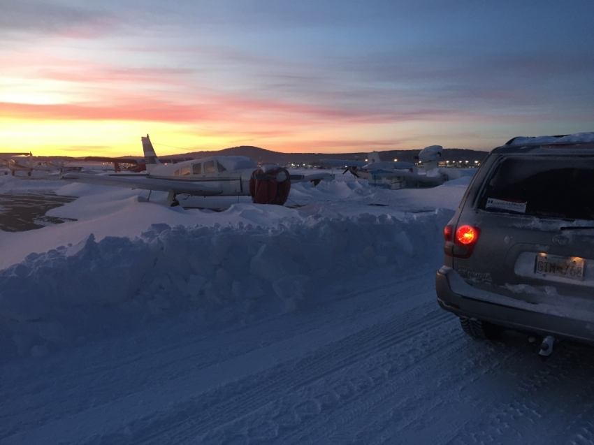 A good amount of recent snow meant digging out and cleaning off the plane the day before we planned to leave