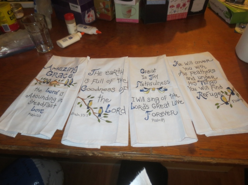 It was surprising how soon the girls noticed a towel with Scripture and spent time examining it