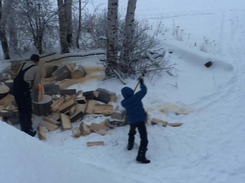 Jared joined Dad, trying his hand at splitting for the first time - and doing well!