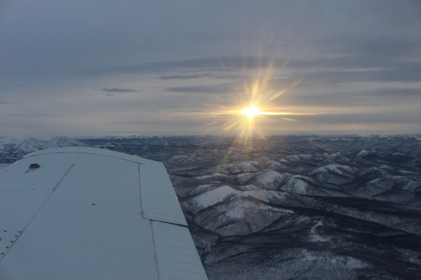 Heading home - 400 miles to Fairbanks - Christmas Eve. Three days past solstice. The sun is about at its zenith at 2.07* above the horizon, about halfway between sunrise (11:12a in Grayling) and sunset (2:43p) in Fairbanks.